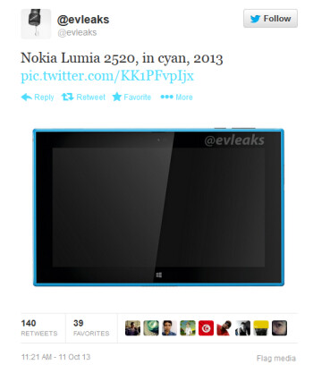 Tweet shows off a cyan colored Nokia Lumia 2520