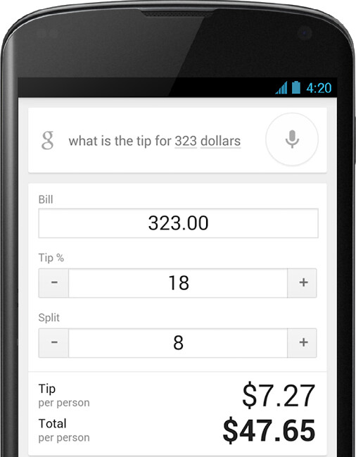 Google search can now compute your tip - Google's mobile search app now includes a tip calculator