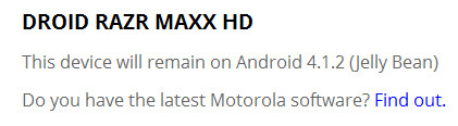 Android 4.1.2 is the end of the line for the Motorola DROID RAZR MAXX HD - Motorola DROID RAZR MAXX HD to stay on Android 4.1.2 forever [Update: not really]