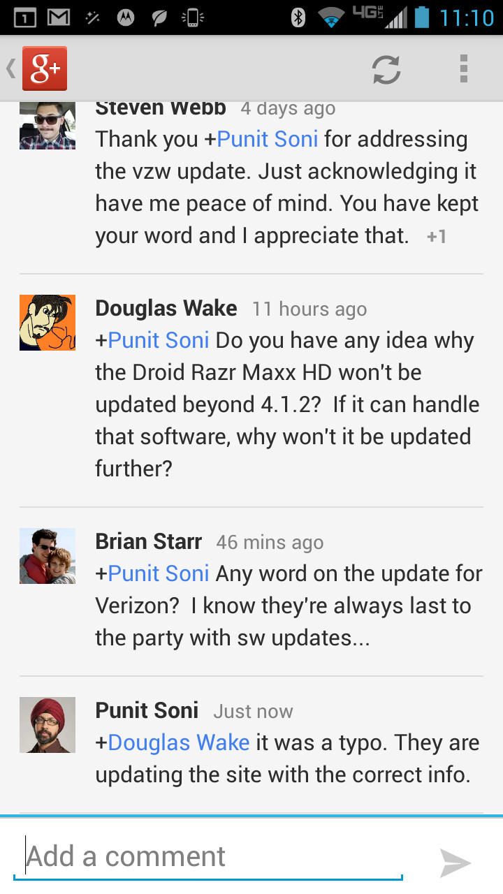 Motorola corrects typo on its update intentions for the Motorola DROID RAZR MAXX HD and the Motorola DROID RAZR HD - Motorola says update information for Motorola DROID RAZR MAXX HD was a typo
