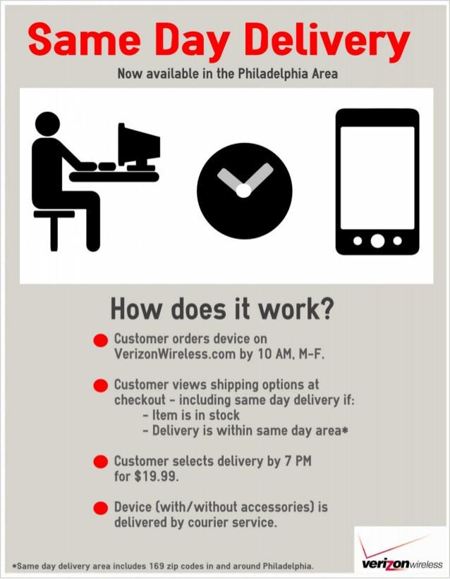 Verizon is testing same day delivery of certain online orders in Philadelphia - Verizon testing same day delivery for online orders