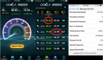 Screenshots show Verizon's zippy test speeds in NYC