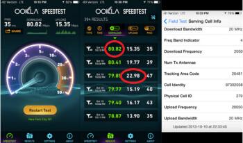 Screenshots show Verizon's zippy test speeds in NYC