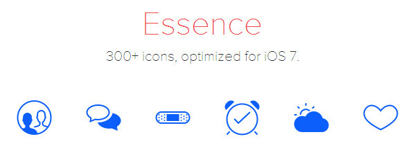 Essence 300-icon pack brings all needed for an app to dress up in iOS 7 flatness