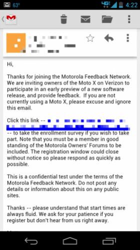 The Motorola Moto X for Verizon is about to go through a soak test - Soak test invites for Verizon's Motorola Moto X are out