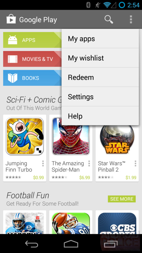 Android 4.3 version with crowded navigation and menu list