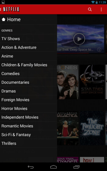 Screenshots of the updated Netflix app