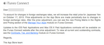 Apple alerts Japanese developers to rate hikes for paid apps in Japan