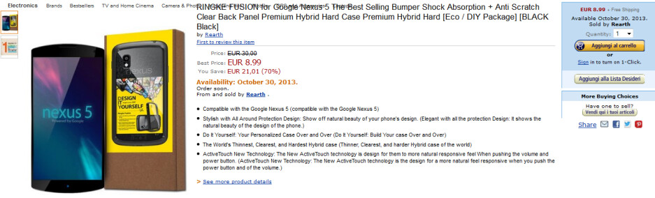 Amazon Italy will ship this rubber bumper for the Nexus 5 on October 30th - Amazon listing of Nexus 5 accessory points to October 30th launch