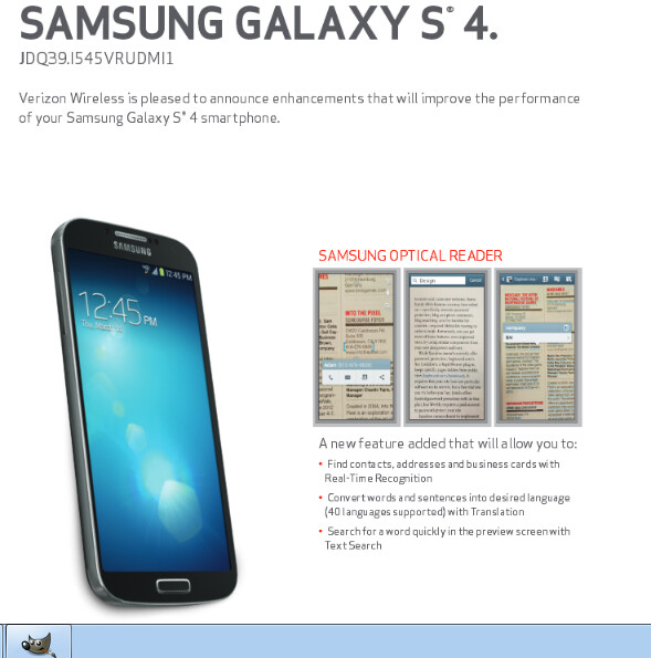 Update to verizons samsung galaxy s4 brings optical reader and more update for the verizon version of the samsung galaxy s4 reheart Image collections