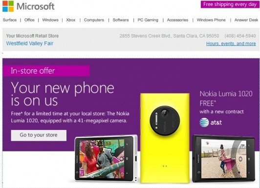 Microsoft in-store deal only: Free Nokia Lumia 1020 on contract
