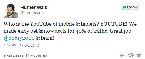 40% of YouTube videos are viewed on a mobile device - 40% of You Tube views now come from a mobile device