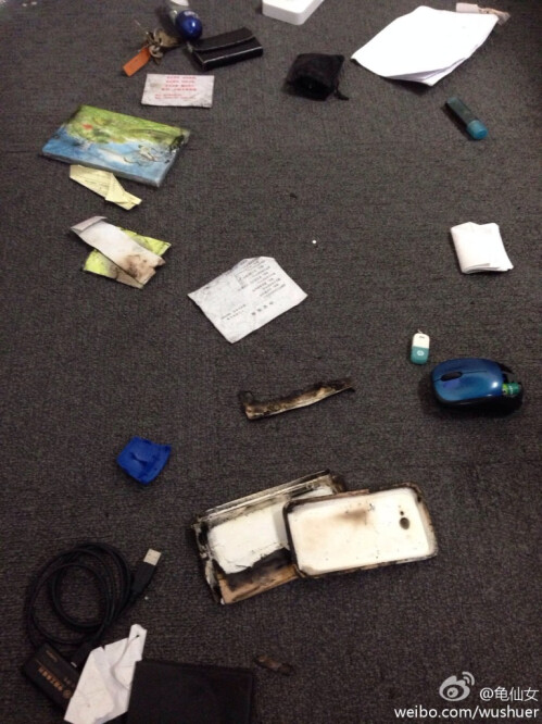 Items in the purse were also burned
