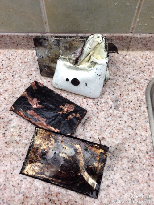 The phone is burned beyond recognition