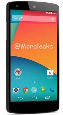 The Google Nexus 5 is seen in this press render