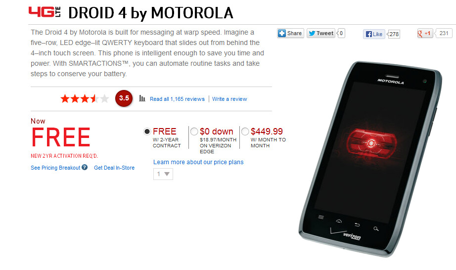The Motorola DROID 4 is free with a signed pact - Motorola DROID 4 now at the low, low price of Zero at Verizon