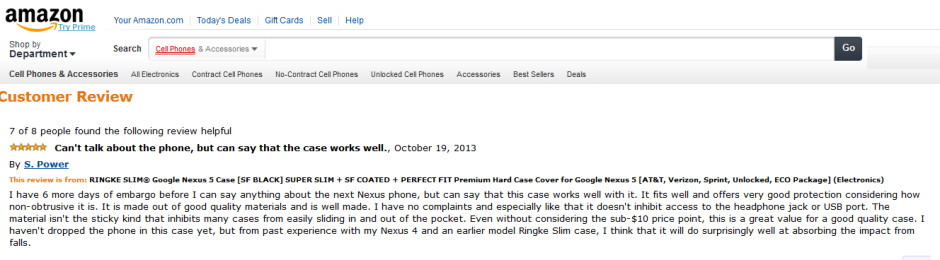 Amazon reviewer says embargo on Google Nexus 5 will end on October 26th - Amazon product reviewer claims Google Nexus 5 embargo ends October 26th