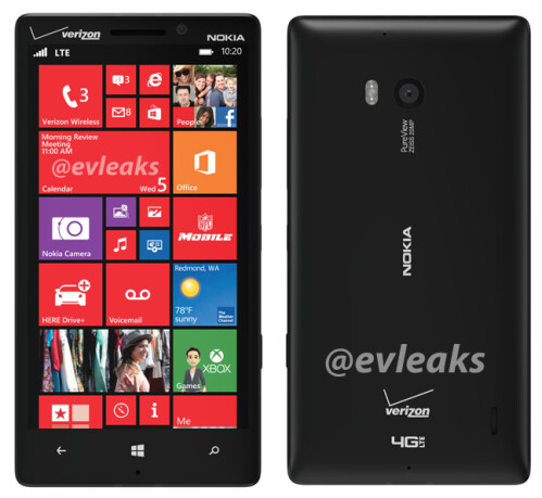 Screenshots of the Nokia Lumia 929 in black and white