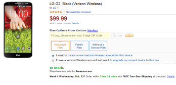 The Verizon (pictured) and AT&T LG G2 are just $99.99 on contract from Amazon
