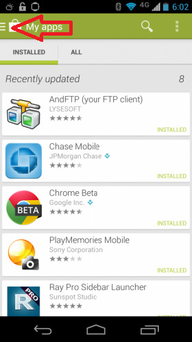 Screenshots from the Google Play Store version 4.4 update