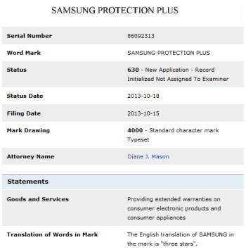 Samsung files for a trademark to be used to sell extended warranties?