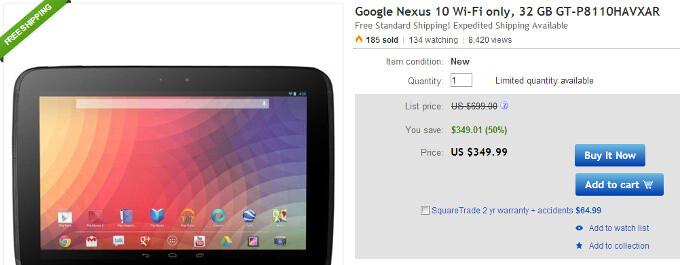 Nexus 10 32GB price slashed to $350 on eBay