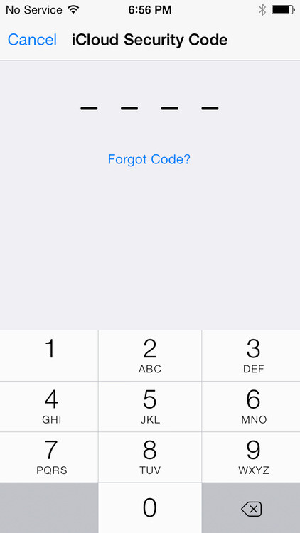 The iCloud security code is entered first