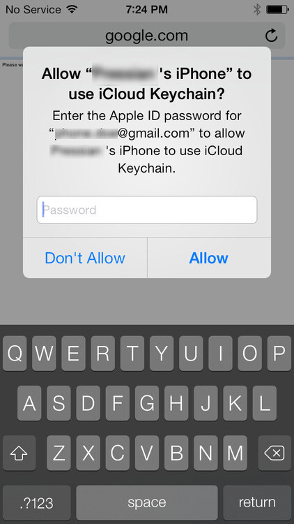 And finally, the user has to log in using their Apple ID