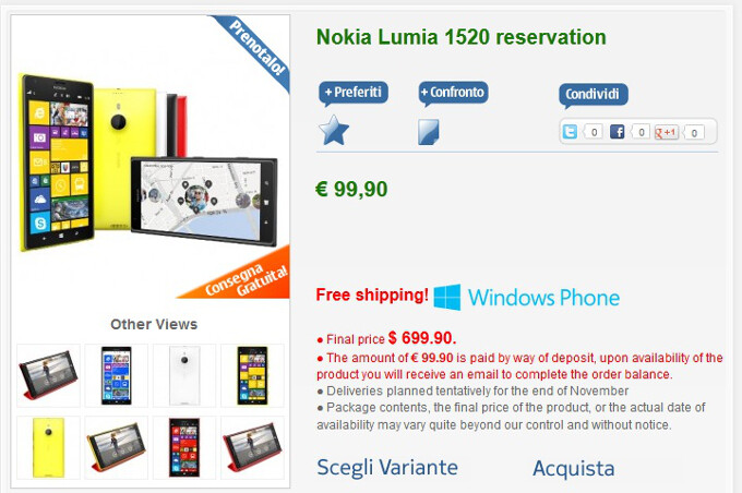 Nokia Lumia 1520 phablet priced officially at € 699.99, release date is in November