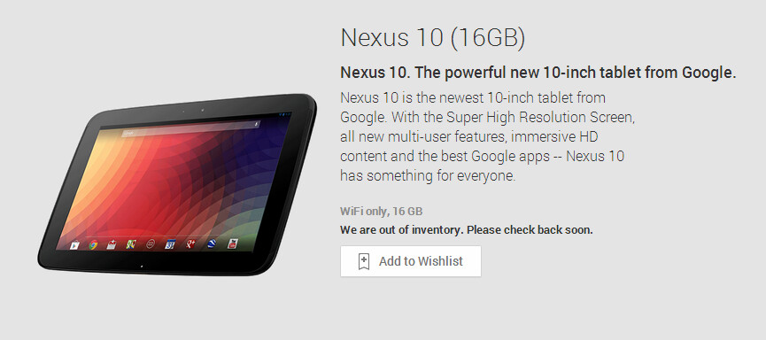 """16GB Google Nexus 10 now """"out of inventory"""" on Google Play"""