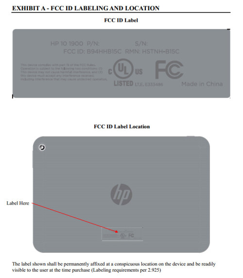 New HP tablet at the FCC