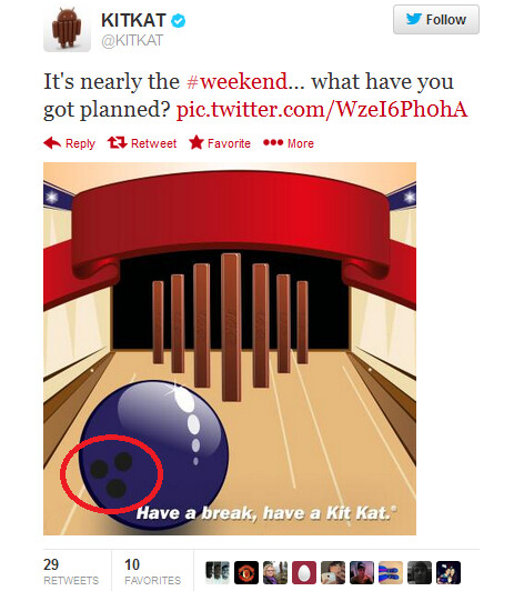 Does this tweet point to an October 28th launch for Android 4.4? - Does bowing ball in tweet mean October 28th launch for KitKat?