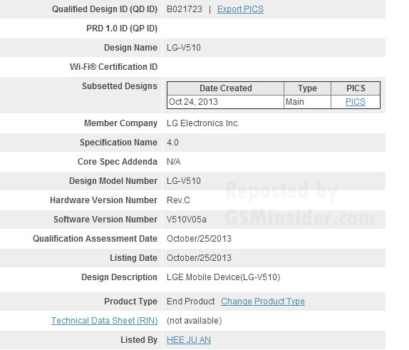 The LG-V510 receives its Bluetooth Certification - Did the Google Nexus 8 tablet just get its Bluetooth Certification?
