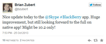 Tweet from BlackBerry's manager of developer relations hints at native Skype app for BlackBerry 10