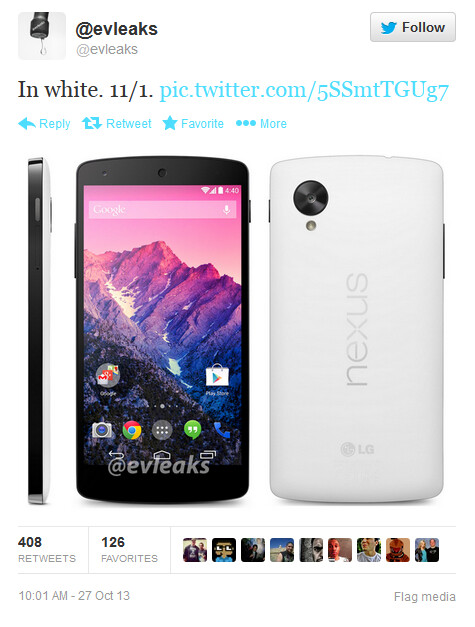 Tweet from evleaks says to expect the Nexus 5 to launch next Friday - Tweet shows Google Nexus 5 in white along with November 1st release date