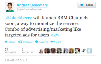 Tweet from CBC anchor says that BlackBerry will monetize BBM using Channels