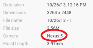 EXIF data shows the photo was taken with the Nexus 5 - Take a gander at the first sample picture from the Google Nexus 5