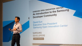 David Eon on stage Monday at the Samsung Developers Conference