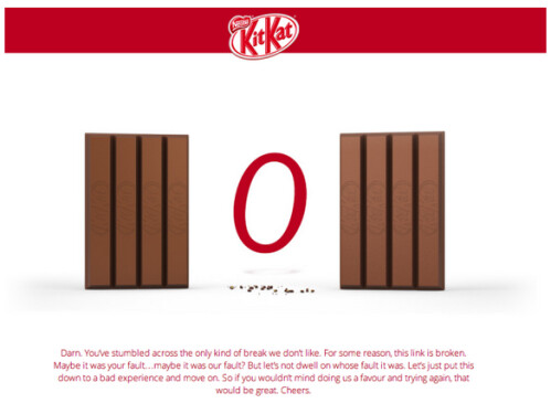 The witty KitKat 404 error message