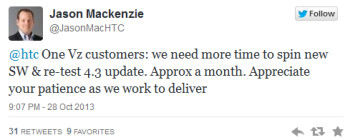 Android 4.3 update for Verizon branded HTC One is pushed back a month