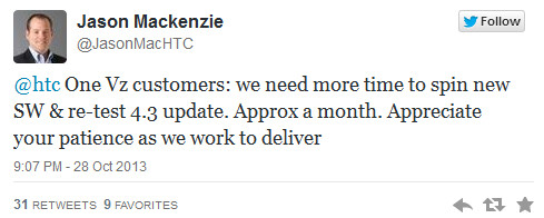 Android 4.3 update for Verizon branded HTC One is pushed back a month - Verizon's HTC One update gets one month delay, tweets HTC executive
