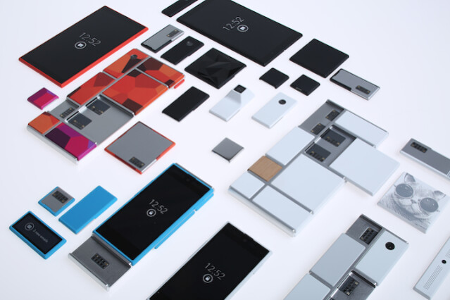 The modular design of Project Ara is seen in this photo