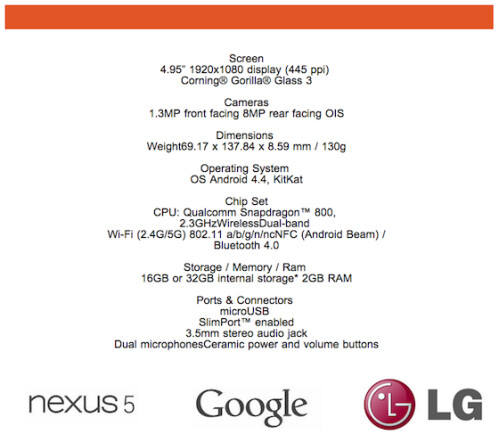 Nexus 5 specs as listed by Wind Mobile