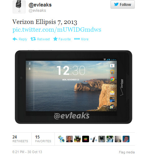 Tweet from evleaks outs the Verizon Ellipsis