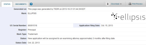 Trademark filing for the Ellipsis
