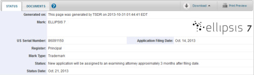 Trademark filing for the Ellipsis 7