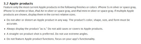 Apple limits which colors can be used on the promotional image of each device