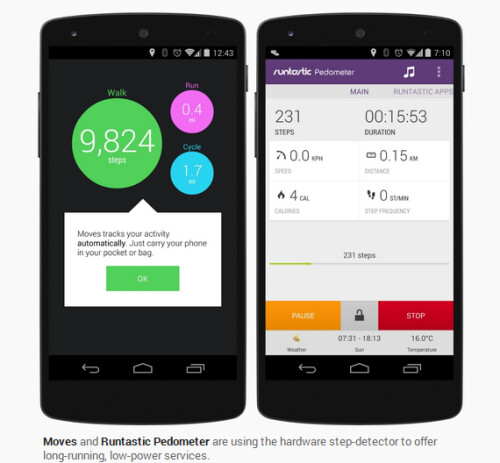 Step detector, step counter and sensor batching