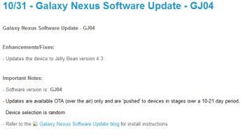 The Sprint Samsung GALAXY Nexus is receiving Android 4.3
