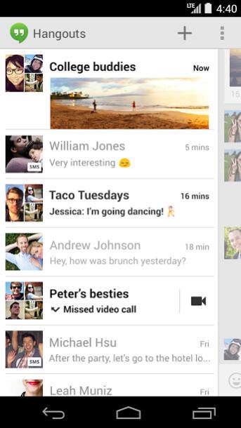 Hangouts app replaces Messaging